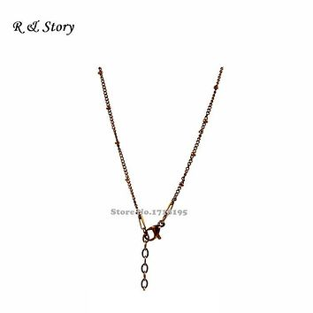 Chocolate Floating Locket Chain / Stainless Steel Ball Station Chain LFH_042