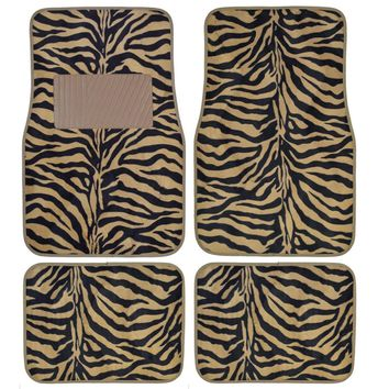 Durable TAN Rubber All WEATHER Auto Car Truck Floor Mats 4 Piece Set Washable Reusable - Mud rain protection, USA, Brand Unique Imports
