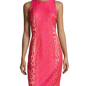 Women's Animal-Print Jacquard Dress - Carmen Marc Valvo - Watermelon (6)