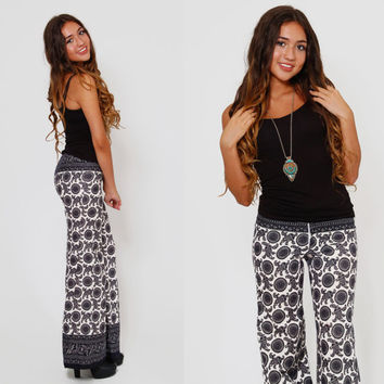 Vintage 60s ETHNIC Print Pants Boho FLARE Pants Black & White Fitted Hippie Trousers PRINTED Bell Bottoms