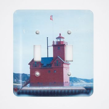 Holland Harbor Michigan Lighthouse Design Light Switchplate, Flawed Print, Photograph