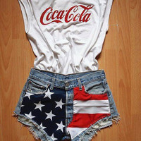 Shorts American Denim Shorts Light Wash High Waisted Shorts Americanza Shorts MADE TO ORDER