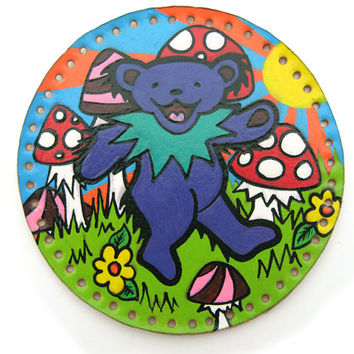 Grateful Dead patch, leather sew on patch with dancing bear in a field of mushrooms, hand drawn on upcycled leather, original Deadhead art