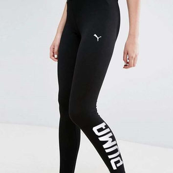 PUMA Fashion Print Exercise Fitness Gym Yoga Running Leggings Sweatpants