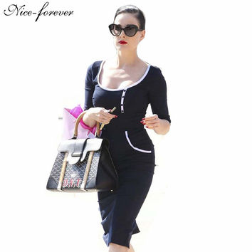 Spring Office Lady Elegant dress Women wear to work button Retro Black Round neck Warm Bodycon Business Pencil dresses 623