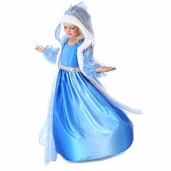 Girls Dresses Summer 2016 Girl Dress Children clothing Anna Blue Movie Dress + Red Cape Girl Princess Dresses Cosplay Costumes
