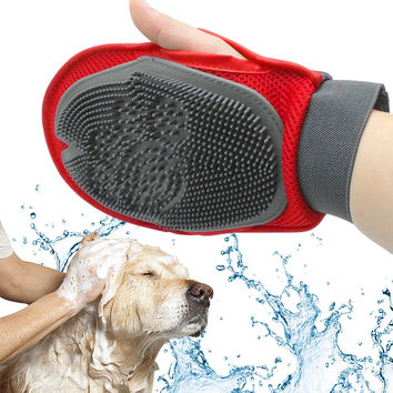 Dog Hair And Fur Remover Mitt  Cat Bath Wash Grooming Glove Brush Dogs Cleaning Massage Comb  For Long Short Pets