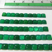 Green Agate for Agate Necklace Square Cabochon 4 mm gemstones 14.80 carat