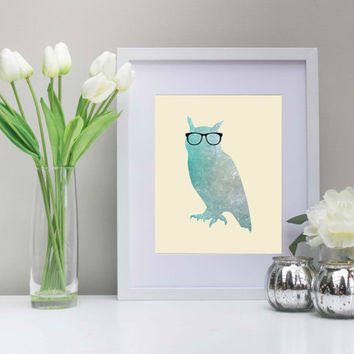 Owl With Glasses Art 8x10 Inch Print , Instant Download, Printable, Hipster Owl Art, Nursery Owl Art, Printable Owl Art