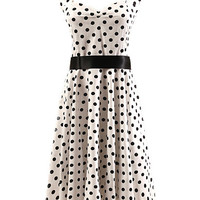 White Polka Dot Sleeveless Halter Backless A-Line Mini Skater Dress with Belt