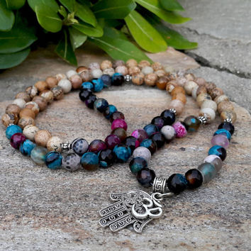108 Mala Necklace Jasper Agate Gemstone Prayer Beads Hamsa Hand Om Necklace Meditation Zen Yoga Japa Mala Necklace Buddhist Prayer Necklace