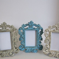 Baroque Picture Frames Antique White Aqua Upcycled Set of 6