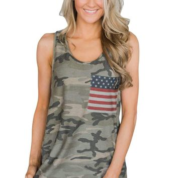 Army Green Camouflage Stars Stripes Flag Tank Top with Pocket