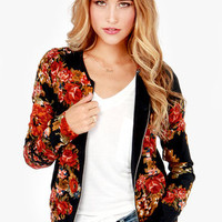 Tapestries in Bloom Silk Black Floral Print Jacket