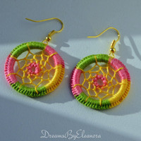 Dream Catcher Earrings - Multicolor Dreamcatcher Earrings - Dangle Earrings - Boho Earrings - Green Pink Yellow