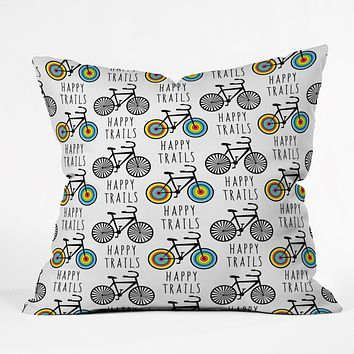 Andi Bird Happy Trails Biking Throw Pillow