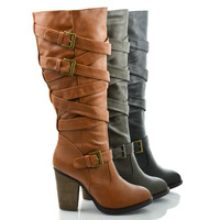 Mentor Grey Pu by Dollhouse, Knee High Belted Harness Equestrian Riding Boots On Chunky High Heel