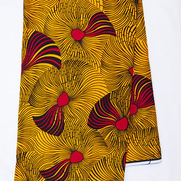 African fabric White African print Fabric, African fabric by the yard, Wax print, Ankara fabric for african dress, English gold yellow red