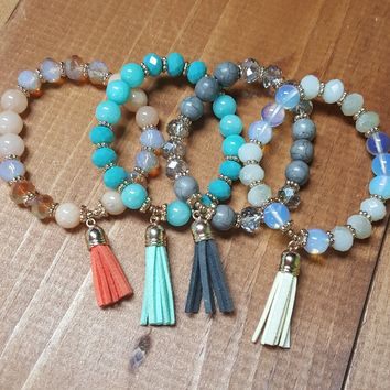CLEARANCE Beaded Tassel Bracelet/ Coral/Mint/Grey/White Beads