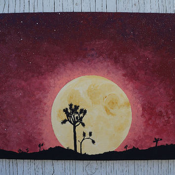 Harvest Moon Painting, Joshua Tree Silhouette Against Harvest Moon, Yellow Moon, Full Moon Desert Night Sky Painting, Full Moonrise Painting