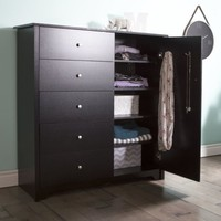 South Shore Vito Door Chest w/5 Drawers, Pure Black 3170045 Dresser NEW