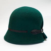Doune - Green Cloche Hat with detail of black buckle and black grosgrain ribbon