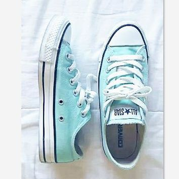 Converse All Star Sneakers canvas shoes for women sports shoes low-top Light blue-1