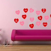 Wall Decal Conversation Hearts Set .. on Luulla