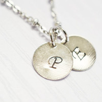 personalized initial necklace,custom initial,monogram necklace,hand stamped jewelry,couple necklace,bff best friend,bridesmaid,christmas