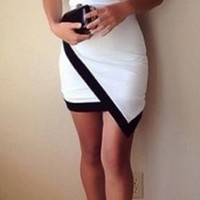 White Black Trim 3/4 Elbow Sleeve Asymmetrical Contrast Scoop Neck Bodycon Mini Dress
