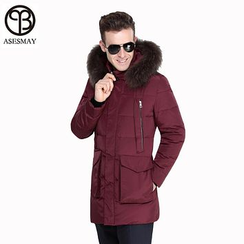 Asesmay 2017 Winter Jacket Men Winter White Duck Down Coat Military Hooded Natural Raccoon Thick Warm High Quality Men Parkas