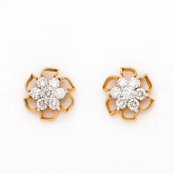 Beautiful Real Diamond Cluster Earrings in 18KT Gold and 1.34 CT diamonds nakshatra  style earring