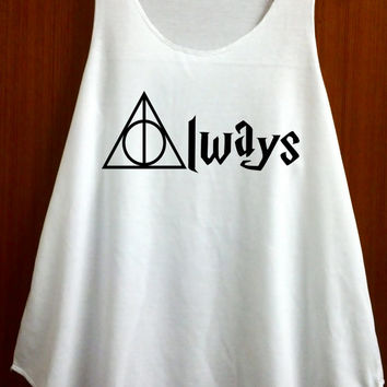 Always Harry Potter Clothing Shirts Deathly Hallows Shirts Tank Top Tee Tunic Tops Vest Sleeveless Size S M