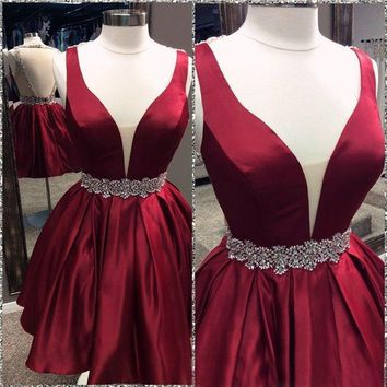 Red Beadings Deep V Neck Homecoming Dress