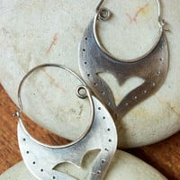 Hoop earrings, Sterling silver earrings, Boho earrings, Silver rustic earrings,Contemporary Earrings,Oxidized Hoop Earrings,Artisan earrings