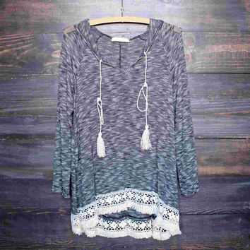 grey two tone lightweight boho pull over sweater tunic hoodie with lace hem Day-First™