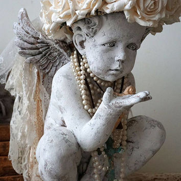 Distressed cherub statue handmade crown white vanilla roses shabby cottage chic angelic figure embellished home decor anita spero design