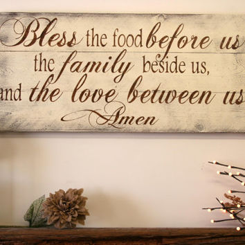 Bless The Food Before Us Wood Kitchen Sign Dining Room Sign Pallet Wood Sign  Rustic Ch