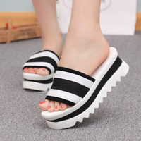 FREE SHIPPING Women's Summer Striped Heavy Heal Sandals