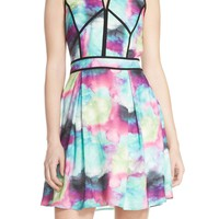 Adelyn Rae Print Woven Fit & Flare Dress | Nordstrom