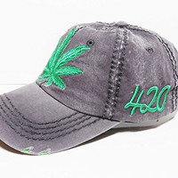 Green Marijuana Leaf Vintage Style Baseball Cap Headwear Hat Weed (Grey)