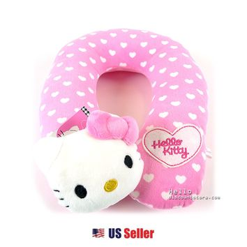Sanrio Hello Kitty Soft Neck Cushion Travel Pillow : Pink with Hearts $28.99