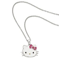 Hello Kitty® Fine Jewelry Sterling Silver 18-Inch Chain Pink Bow Pendant Necklace