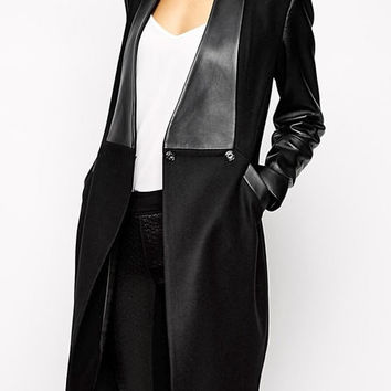 Black PU Leather Sleeve Coat