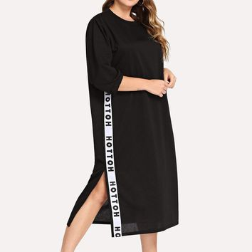 Plus Letter Taped Side Dress