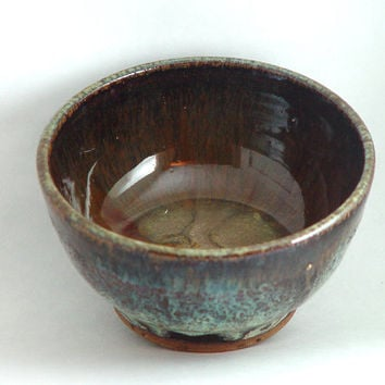 "5 Inch Cereal Bowl, Brown & Turquoise Blue colors, ""Lake Agate"", Kitchen Serving dish or Ring Holder, Wheel Thrown stoneware pottery ceramic"