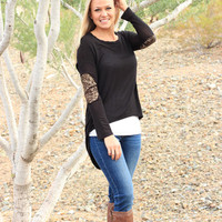 The Tickled Pink Boutique · Sequin Elbow Tunic- Black