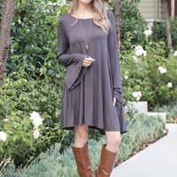 Knee Length Bell Sleeve Dress
