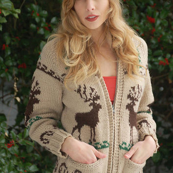 Vintage 50s COWICHAN Sweater Wool REINDEER Sweater Hand Knit Wool Cardigan Moose Sweater Knit Jacket
