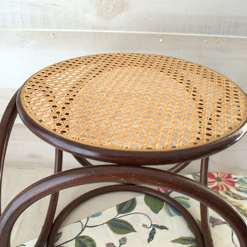 Dark Brown Bentwood and Cane Stool,  Papasan Chair Foot Stool, Thonet Style Bentwood Ottoman, Bentwood Footstool